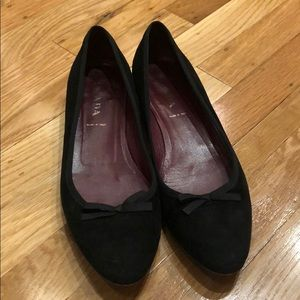 Prada black suede flats with bow detail, 37.5